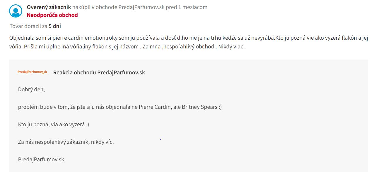 predajparfumov.sk reakcia